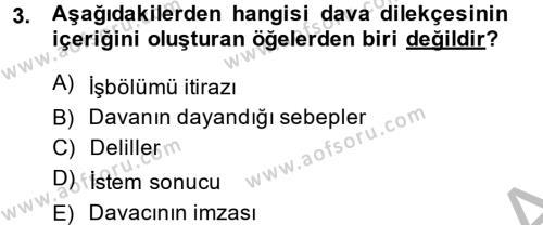 Adalet Bölümü 2. Yarıyıl Hukuk Dili Ve Adli Yazışmalar Dersi 2014 Yılı Bahar Dönemi Dönem Sonu Sınavı 3. Soru