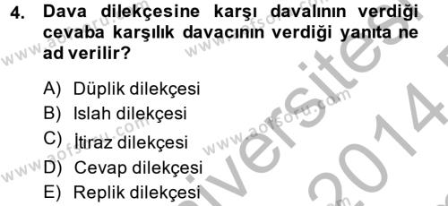 Hukuk Dili Ve Adli Yazışmalar Dersi 2013 - 2014 Yılı (Final) Dönem Sonu Sınavı 4. Soru