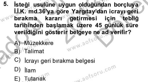 Adalet Bölümü 2. Yarıyıl Hukuk Dili Ve Adli Yazışmalar Dersi 2014 Yılı Bahar Dönemi Dönem Sonu Sınavı 5. Soru