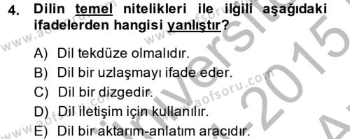 Adalet Bölümü 2. Yarıyıl Hukuk Dili Ve Adli Yazışmalar Dersi 2015 Yılı Bahar Dönemi Ara Sınavı 4. Soru