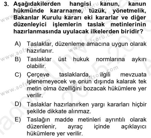 Hukuk Dili Ve Adli Yazışmalar Dersi 2015 - 2016 Yılı Ara Sınavı 3. Soru