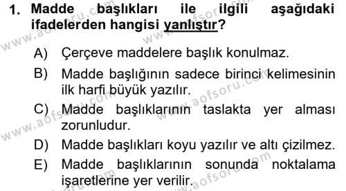 Adalet Bölümü 2. Yarıyıl Hukuk Dili Ve Adli Yazışmalar Dersi 2016 Yılı Bahar Dönemi Dönem Sonu Sınavı 1. Soru