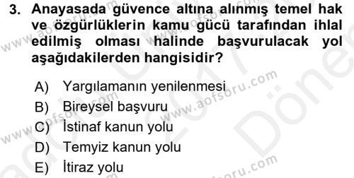 Hukuk Dili Ve Adli Yazışmalar Dersi 2017 - 2018 Yılı (Final) Dönem Sonu Sınavı 3. Soru