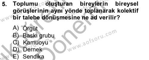 Adalet Bölümü 2. Yarıyıl İdari Yargı Dersi 2013 Yılı Bahar Dönemi Ara Sınavı 5. Soru