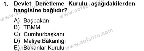 İdari Yargı Dersi 2012 - 2013 Yılı (Final) Dönem Sonu Sınavı 1. Soru