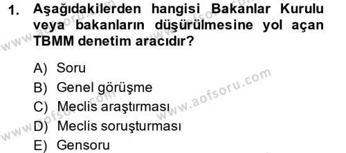 Adalet Bölümü 2. Yarıyıl İdari Yargı Dersi 2014 Yılı Bahar Dönemi Ara Sınavı 1. Soru