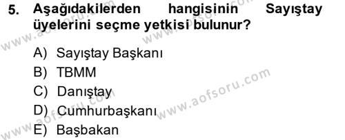 Adalet Bölümü 2. Yarıyıl İdari Yargı Dersi 2014 Yılı Bahar Dönemi Ara Sınavı 5. Soru