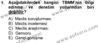Adalet Bölümü 2. Yarıyıl İdari Yargı Dersi 2014 Yılı Bahar Dönemi Tek Ders Sınavı 1. Soru