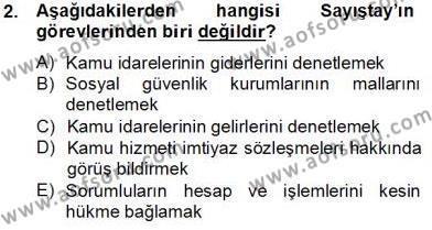 Adalet Bölümü 2. Yarıyıl İdari Yargı Dersi 2014 Yılı Bahar Dönemi Tek Ders Sınavı 2. Soru