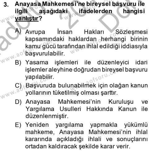 Adalet Bölümü 2. Yarıyıl İdari Yargı Dersi 2015 Yılı Bahar Dönemi Dönem Sonu Sınavı 3. Soru