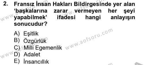 İnsan Hakları Ve Kamu Özgürlükleri Dersi 2012 - 2013 Yılı Dönem Sonu Sınavı 2. Soru