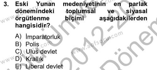 İnsan Hakları Ve Kamu Özgürlükleri Dersi 2012 - 2013 Yılı Dönem Sonu Sınavı 3. Soru