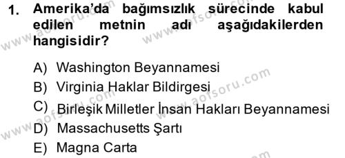 Kamu Yönetimi Bölümü 6. Yarıyıl İnsan Hakları Ve Kamu Özgürlükleri Dersi 2014 Yılı Bahar Dönemi Ara Sınavı 1. Soru