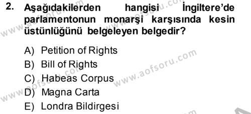 Kamu Yönetimi Bölümü 6. Yarıyıl İnsan Hakları Ve Kamu Özgürlükleri Dersi 2014 Yılı Bahar Dönemi Ara Sınavı 2. Soru