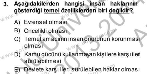 İnsan Hakları Ve Kamu Özgürlükleri Dersi 2013 - 2014 Yılı (Vize) Ara Sınavı 3. Soru