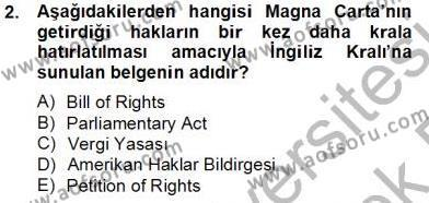 İnsan Hakları Ve Kamu Özgürlükleri Dersi 2013 - 2014 Yılı Tek Ders Sınavı 2. Soru