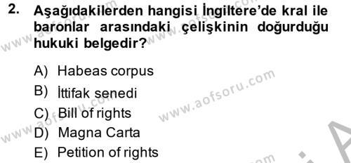 Kamu Yönetimi Bölümü 6. Yarıyıl İnsan Hakları Ve Kamu Özgürlükleri Dersi 2015 Yılı Bahar Dönemi Ara Sınavı 2. Soru