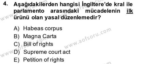 Kamu Yönetimi Bölümü 6. Yarıyıl İnsan Hakları Ve Kamu Özgürlükleri Dersi 2015 Yılı Bahar Dönemi Ara Sınavı 4. Soru