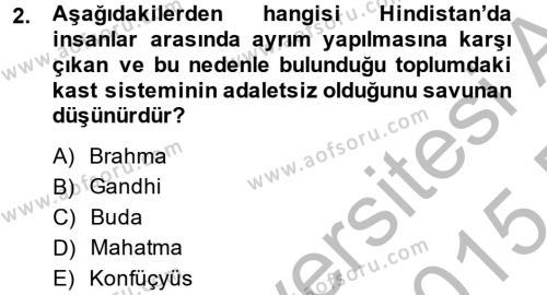 Felsefe Bölümü 6. Yarıyıl İnsan Hakları Ve Kamu Özgürlükleri Dersi 2015 Yılı Bahar Dönemi Dönem Sonu Sınavı 2. Soru