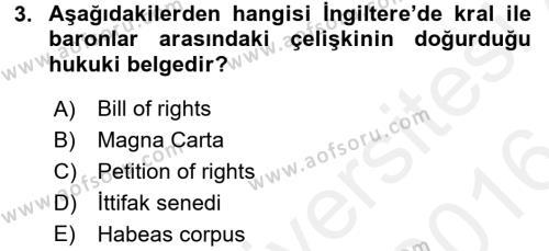 Adalet Bölümü 2. Yarıyıl İnsan Hakları Ve Kamu Özgürlükleri Dersi 2016 Yılı Bahar Dönemi Ara Sınavı 3. Soru