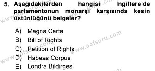 İnsan Hakları Ve Kamu Özgürlükleri Dersi Ara Sınavı Deneme Sınav Soruları 5. Soru