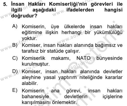 Sosyal Bilimler Bölümü 2. Yarıyıl İnsan Hakları Ve Kamu Özgürlükleri Dersi 2016 Yılı Bahar Dönemi Dönem Sonu Sınavı 5. Soru