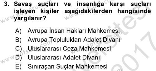İnsan Hakları Ve Kamu Özgürlükleri Dersi 2016 - 2017 Yılı Dönem Sonu Sınavı 3. Soru