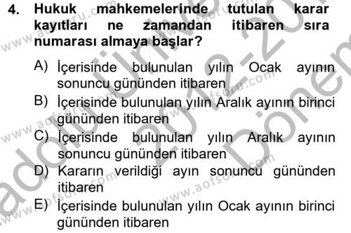Kalem Mevzuatı Dersi 2012 - 2013 Yılı Dönem Sonu Sınavı 4. Soru