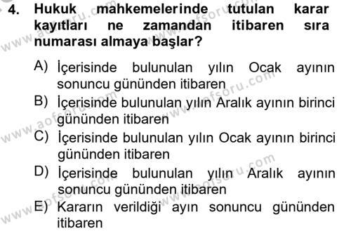 Kalem Mevzuatı Dersi 2013 - 2014 Yılı Ara Sınavı 4. Soru