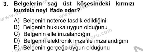 Kalem Mevzuatı Dersi 2013 - 2014 Yılı Dönem Sonu Sınavı 3. Soru