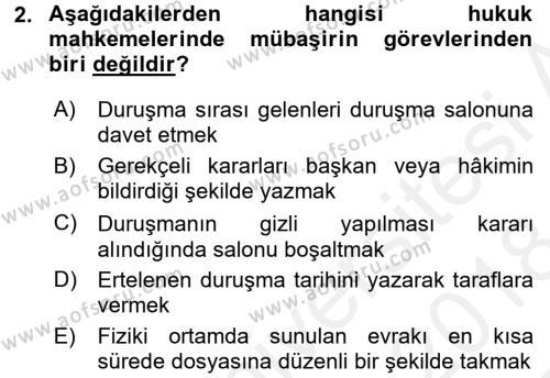 Kalem Mevzuatı Dersi 2017 - 2018 Yılı Dönem Sonu Sınavı 2. Soru