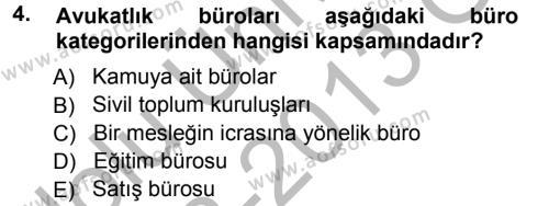 Adalet Bölümü 3. Yarıyıl Büro Teknolojileri Dersi 2013 Yılı Güz Dönemi Ara Sınavı 4. Soru