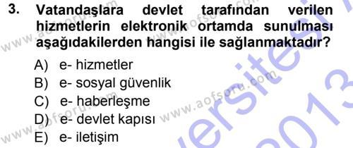 Büro Teknolojileri Dersi 2012 - 2013 Yılı (Final) Dönem Sonu Sınavı 3. Soru