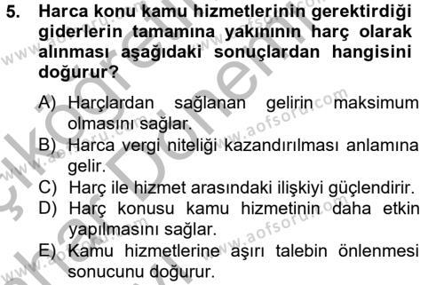 Adalet Bölümü 4. Yarıyıl Damga Vergisi Ve Harçlar Bilgisi Dersi 2013 Yılı Bahar Dönemi Ara Sınavı 5. Soru