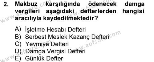 Damga Vergisi Ve Harçlar Bilgisi Dersi 2012 - 2013 Yılı (Final) Dönem Sonu Sınavı 2. Soru