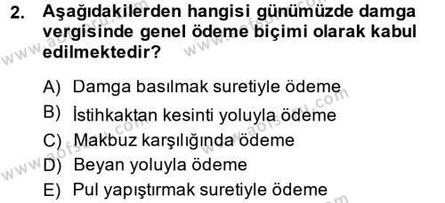 Damga Vergisi Ve Harçlar Bilgisi Dersi 2013 - 2014 Yılı (Final) Dönem Sonu Sınavı 2. Soru