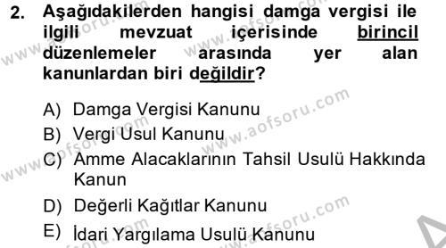 Damga Vergisi Ve Harçlar Bilgisi Dersi 2014 - 2015 Yılı (Vize) Ara Sınavı 2. Soru
