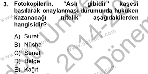 Damga Vergisi Ve Harçlar Bilgisi Dersi 2014 - 2015 Yılı (Final) Dönem Sonu Sınavı 3. Soru