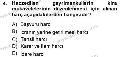 Damga Vergisi Ve Harçlar Bilgisi Dersi 2014 - 2015 Yılı (Final) Dönem Sonu Sınavı 4. Soru
