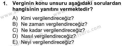 Damga Vergisi Ve Harçlar Bilgisi Dersi 2014 - 2015 Yılı Tek Ders Sınavı 1. Soru