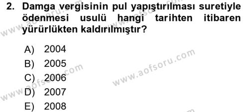 Damga Vergisi Ve Harçlar Bilgisi Dersi 2015 - 2016 Yılı (Vize) Ara Sınavı 2. Soru