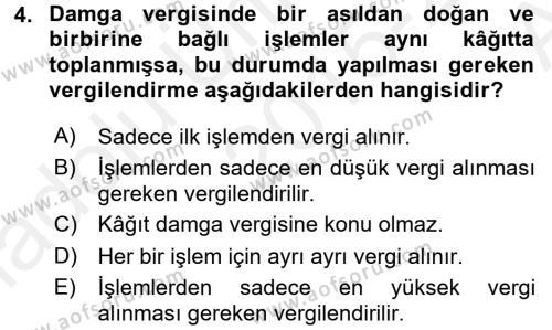 Damga Vergisi Ve Harçlar Bilgisi Dersi 2015 - 2016 Yılı (Vize) Ara Sınavı 4. Soru