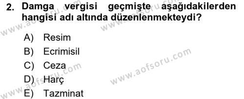 Damga Vergisi Ve Harçlar Bilgisi Dersi 2015 - 2016 Yılı (Final) Dönem Sonu Sınavı 2. Soru