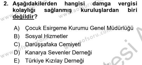 Damga Vergisi Ve Harçlar Bilgisi Dersi 2016 - 2017 Yılı (Vize) Ara Sınavı 2. Soru