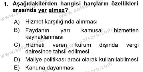 Damga Vergisi Ve Harçlar Bilgisi Dersi 2016 - 2017 Yılı (Final) Dönem Sonu Sınavı 1. Soru