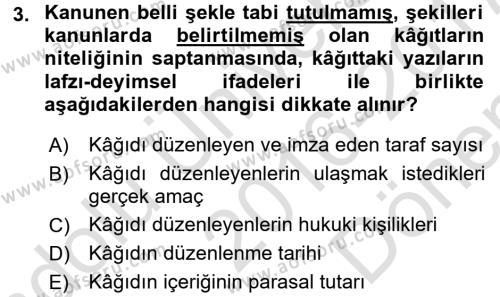 Damga Vergisi Ve Harçlar Bilgisi Dersi 2016 - 2017 Yılı (Final) Dönem Sonu Sınavı 3. Soru