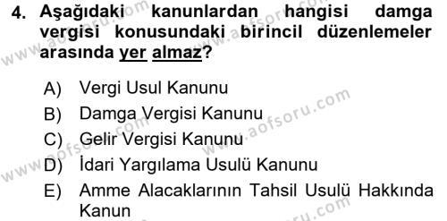 Damga Vergisi Ve Harçlar Bilgisi Dersi 2016 - 2017 Yılı (Final) Dönem Sonu Sınavı 4. Soru