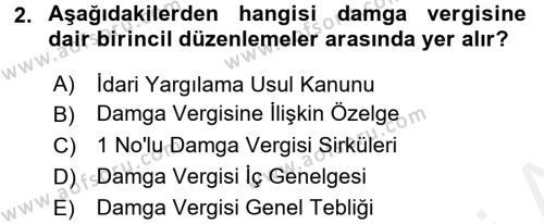 Damga Vergisi Ve Harçlar Bilgisi Dersi 2017 - 2018 Yılı (Vize) Ara Sınav Soruları 2. Soru