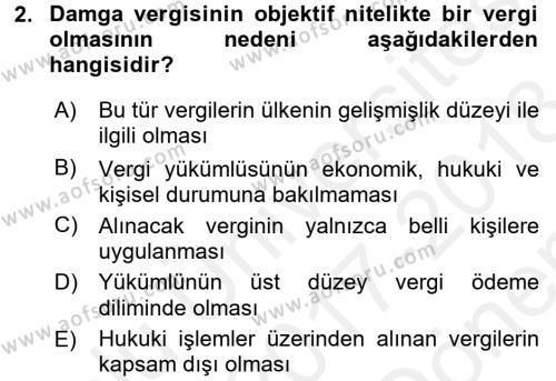 Damga Vergisi Ve Harçlar Bilgisi Dersi 2017 - 2018 Yılı (Final) Dönem Sonu Sınavı 2. Soru