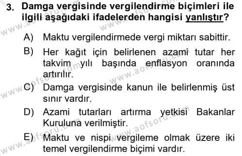 Damga Vergisi Ve Harçlar Bilgisi Dersi 2017 - 2018 Yılı (Final) Dönem Sonu Sınavı 3. Soru